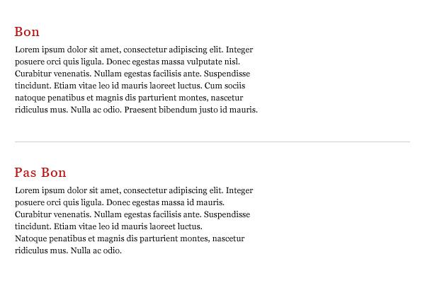 Comparaison de texte bien et mal aligné