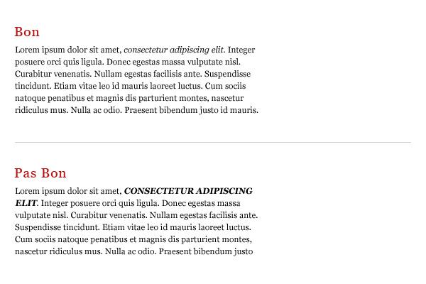 Comparaison de texte avec emphase simple et combinée