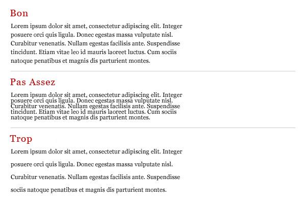Comparaison de texte avec bonne et mauvaise hauteur d'interligne