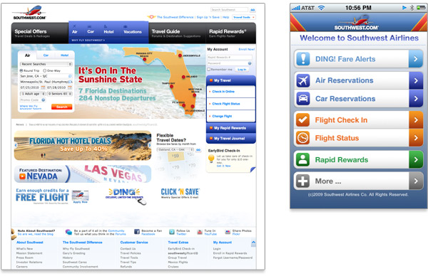 Comparaison du site de Southwest airlines et de l'application mobile