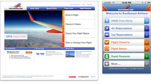 Comparaison de la page d'accueil de Southwest airlines et de l'application mobile
