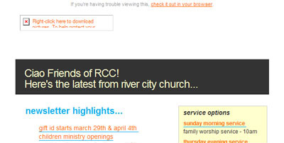 Newsletter de l'église de River City Church avec les images désactivées.